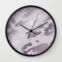 Blush lavender purple abstract glitter brushstrokes Wall Clock