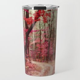 Red, Rust and Orange Ethereal Forest Path Travel Mug