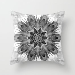 Beautiful Black White Flower Abstract Throw Pillow