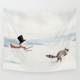 Snowman and Raccoon Wall Tapestry