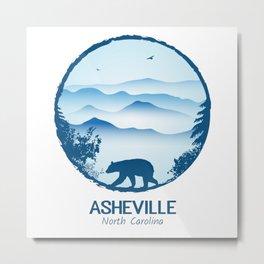 Asheville Blue Ridge Mtns - AVL 1 White Metal Print