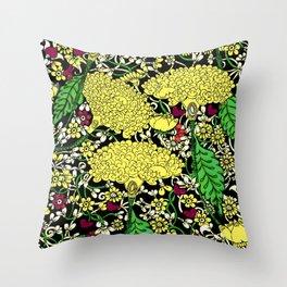 YELLOW & BLACK FLORAL FRIVOLITY FANTASY GARDEN Throw Pillow