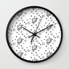Planet and stars pattern B&W Wall Clock
