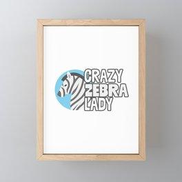 Crazy Zebra Lady Funny African Stripes Animal Lover Humor Design Framed Mini Art Print