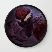 carnage Wall Clocks featuring Carnage by MATT DEMINO