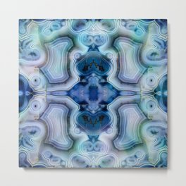 Abstract Kaleidoscope Blue Mineral Crystal Texture Metal Print