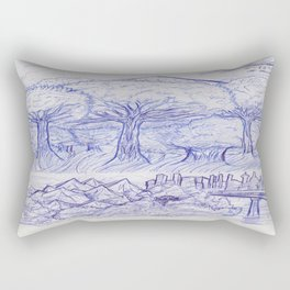 Scenery and Environment Art Sketch  Rectangular Pillow