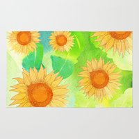 sunflowers Area & Throw Rugs featuring Sunflowers by Sara Eshak