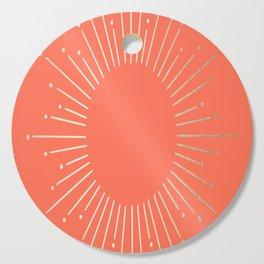 Simply Sunburst in Deep Coral Cutting Board