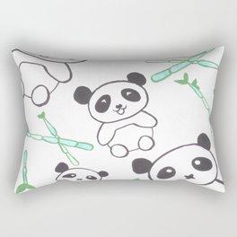 Cute Pandas and bamboos watercolor Rectangular Pillow