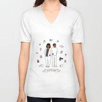 treat yo self V-neck T-shirts featuring Treat Yo Self by Tyler Feder