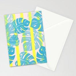 Linocut Monstera Neon Stationery Cards
