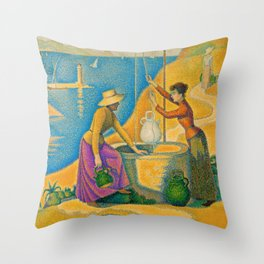 Women at the Well Throw Pillow