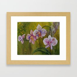 Yellow and Orchids Framed Art Print