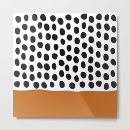 Classy Handpainted Polka Dots with Autumn Maple Metal Print