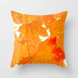 Fall Orange Maple Leaves On A White Background #decor #society6 #buyart Throw Pillow