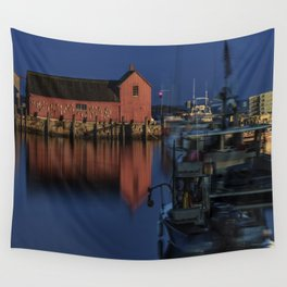 Moonlit Rockport Harbor Wall Tapestry