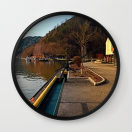 River Danube valley, at the harbour | waterscape photography Wall Clock