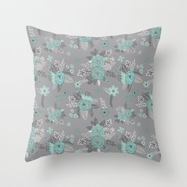 Teal Floral Pattern on Gray Background Throw Pillow