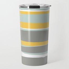 Stripe Abstract, Sun and Beach, Yellow, Pale, Aqua Blue and Gray Travel Mug