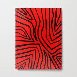 Red Zebra Stripes Metal Print
