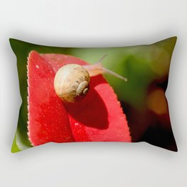 Snail on red leaf Rectangular Pillow