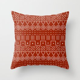 Mudcloth Style 1 in White on Red Throw Pillow