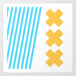Bold Minimalism 2 (Zebra Blue and Yellow Cross) Art Print