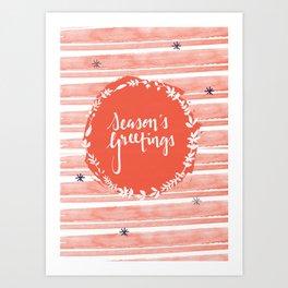 Seasons Greetings (Red) Art Print