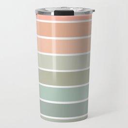 70s Stripe - pastel pink and mint, spring, pink stripes, desert, boho, dorm decor Travel Mug