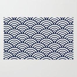 Indigo Navy Blue Wave Rug