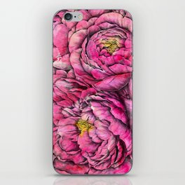 Peonies three pink iPhone Skin