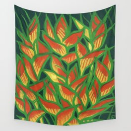 Lobster Claw / Heliconia Rostrata, tropic flowers, green, yellow & orange Wall Tapestry