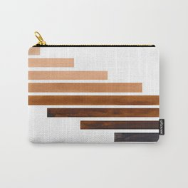 Brown Midcentury Modern Minimalist Staggered Stripes Rectangle Geometric Aztec Pattern Watercolor Ar Carry-All Pouch