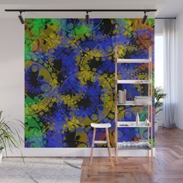 Multicolored delicate pastel blue circles and yellow ellipses depicting abstract ornamental green fl Wall Mural
