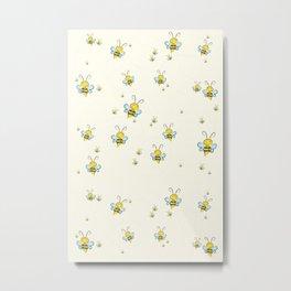 Bee Pattern, Clipart Vector, For kid, Nursery Pattern Metal Print