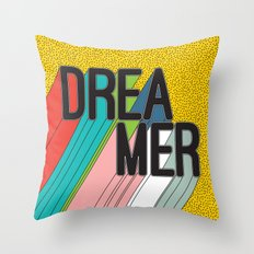 Dreamer Typography Color Poster Dream Imagine Throw Pillow