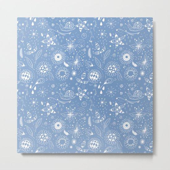 White doodle flowers pattern on blue Metal Print