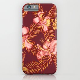 Golden Tropics Seamless Pattern with Hibiscus and Palm Leaves. iPhone Case
