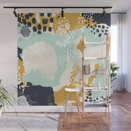 Tinsley - abstract painting minimalist decor nursery dorm college art gold navy Wall Mural