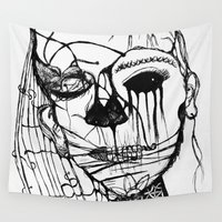 psycho Wall Tapestries featuring ~psycho by alexisdarkness