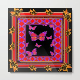 Black-Red-Purple Monarch Butterflies Gold trim Metal Print