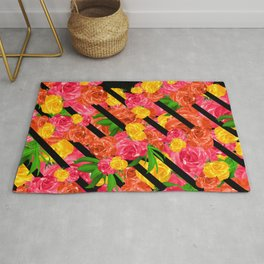 Bold Tropical Spring Floral With Stripes Rug