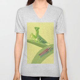 Mantis and Leafhopper Unisex V-Neck