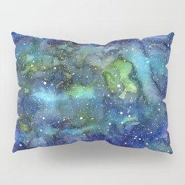 Space Galaxy Blue Green Watercolor Nebula Painting Pillow Sham
