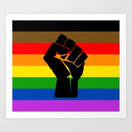 LGBT Pride Flag More Colors Raised Fist (More Pride) Art Print