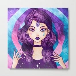 Purple Goth Witch Metal Print