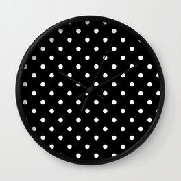 Polka dot black and white Wall Clock