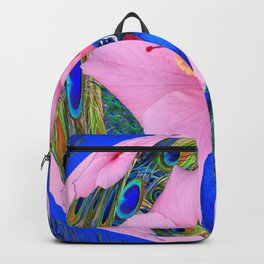BLUE PINK HIBISCUS FLOWERS & BLUE-GREEN PEACOCK Backpack