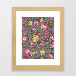 butterflies & roses Framed Art Print